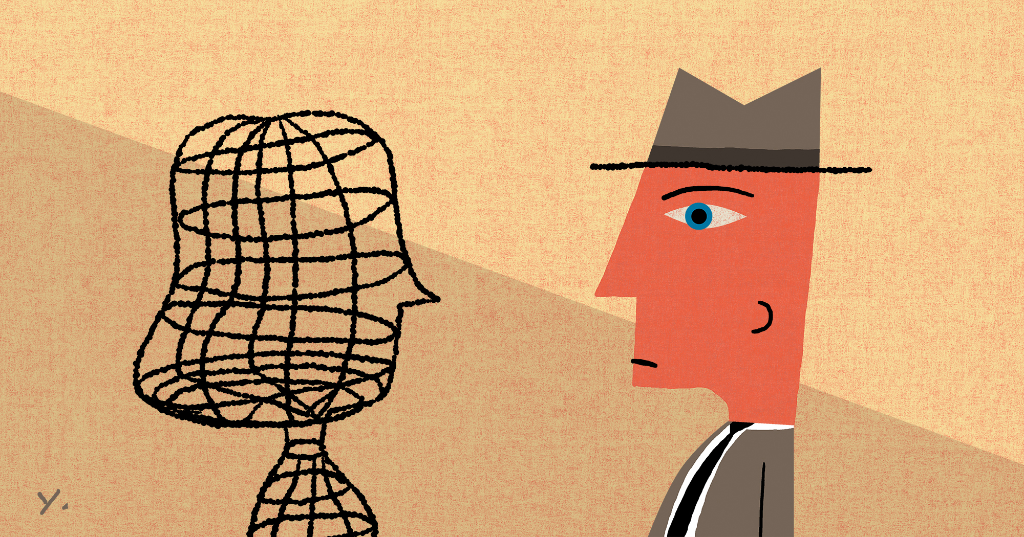 Illustration of a man in a hat staring at a bunch of lines formed like a woman
