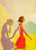 An illustration of a woman in a red dress walking outwards into an open field. Behind her is a silhouette, crying with her head in her palm.