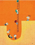 A cartoon of a line of people standing on a misshapen landscape. In the middle is a large pit with a ladder at one end. Most of the figures are in the pit, but a few are climbing out.