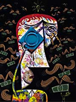 An abstract picture of a man whose glasses are the two sides of a condom keychain. All around him are dollar bills with moustache wings.