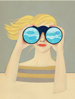 A plain illustration of a woman looking through binoculars. On our side of the binoculars, there are light blue waves.
