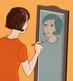 An illustration of a woman looking into a mirror, holding a pen to it. She appears to be drawing her own image with slightly different features.