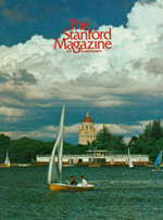 The cover of the Spring 1974 edition. On it, several small sailboats are seen gliding across a body of water. Behind them is a harbor, followed by some trees, and then the top of Hoover tower.