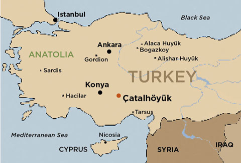 A map of Turkey. Hodder's field site, Çatalhöyük, is located in the mid-south region of the country.