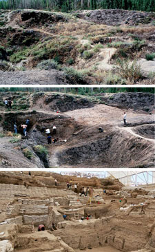 The image is a series of three panels. The top panel shows a non-descript, almost entirely covered site. The middle panel shows the same site, yet dug out in some areas. The last panel shows the site completely transformed, now a desert-like pit filled with workers, ladders, and support structures.