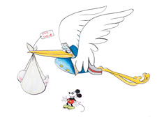 A giant stork is depicted flying over Mickey Mouse. The Stork is wearing a blue, button-down coat and a mailman's cap. In its mouth is a cloth wrap, hanging down and carrying a baby.