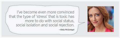 "A photo of McGonigal with the quote: ""I've become even more convinced that the type of 'stress' that is toxic has more to do with social status, social isolation, and social rejection."""