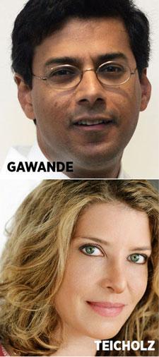 Portraits of Atul Gawande and Nina Teicholz.