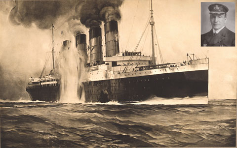 A black and white painting of the Lusitania. A massive explosion is occurring on the side of the vessel, and slightly ahead of it is a gaping hole. Above and to the right of the ship is a photograph of Turner.