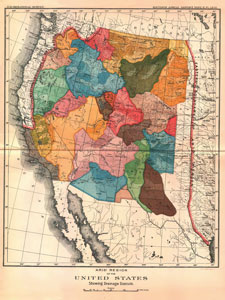 A colorful map of the Western United States. It is divided into oddly-shaped blocks.