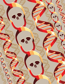 An illustration of DNA strands, some of which cross to create the shapes of skulls.