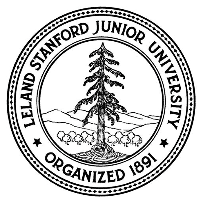 Image of university seal with orchard and hills behind El Palo Alto.