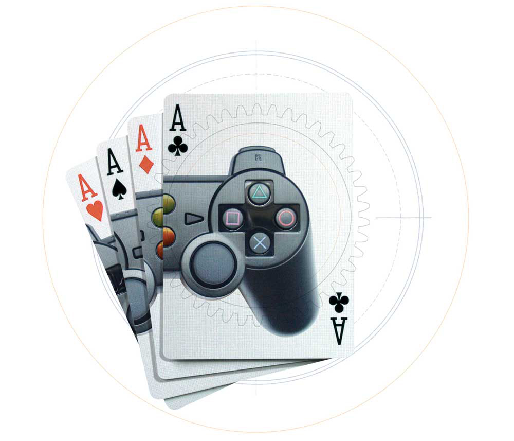 Illustration of playing cards showing image of video game controller