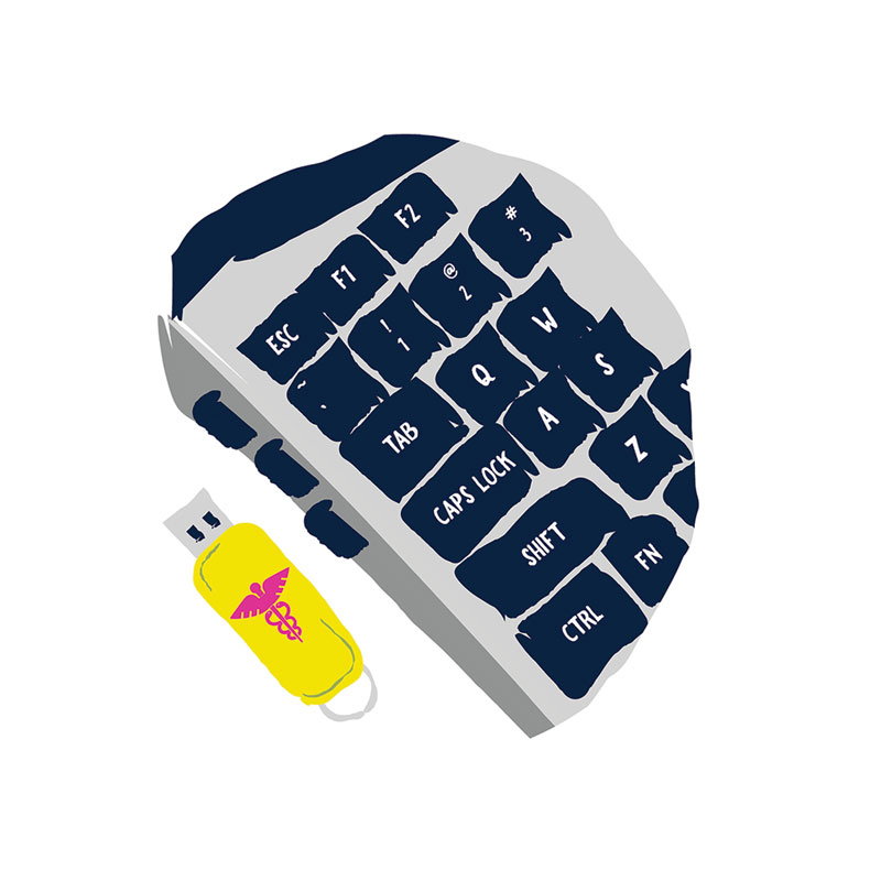 Illustration of memory stick next to keyboard.