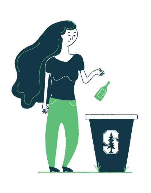 Girl Throwing Away Trash Illustration