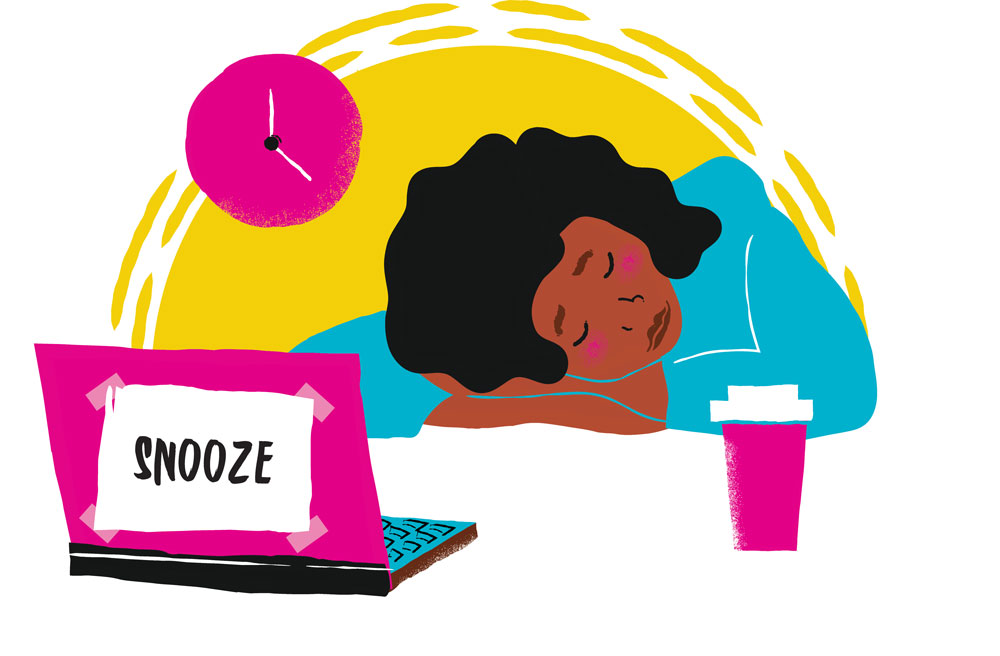 Woman Napping Illustration