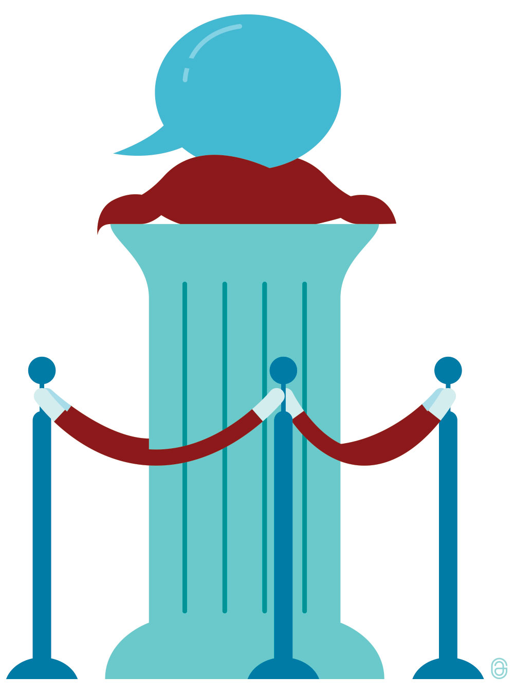 Illustration of a blue speech bubble resting on top of a column, surrounded by a red velvet rope.