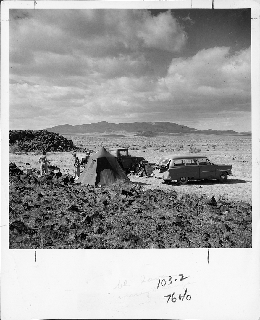 Photo of exploring by auto, January 1958.