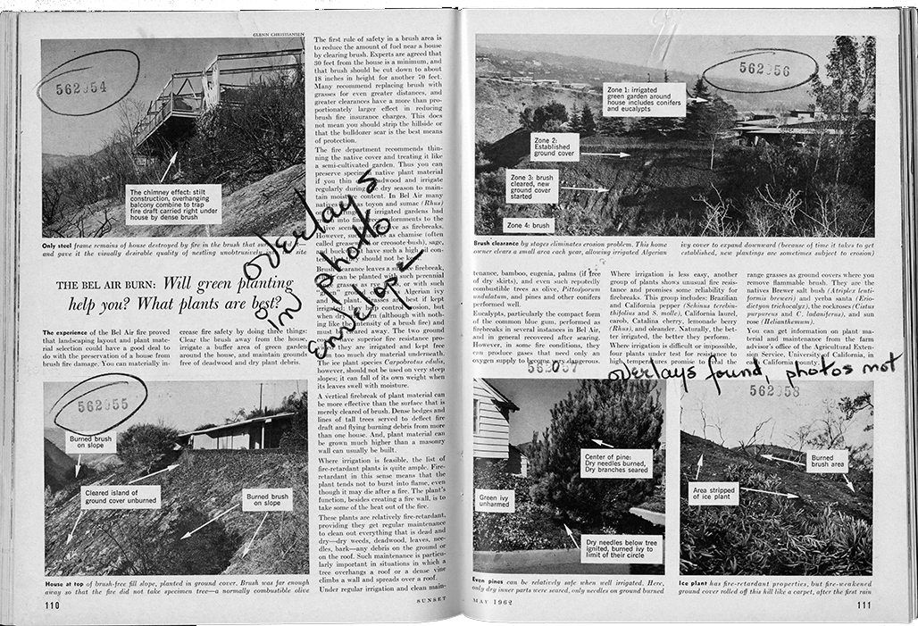 Marked up photos from Bel Air fire story, May 1962.