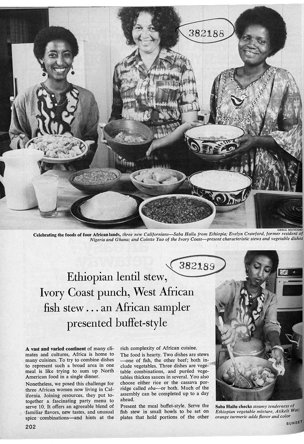 Photo of African meal story, March 1982.