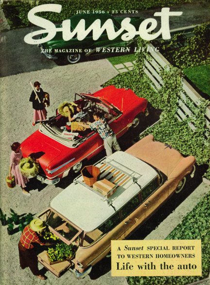 Sunset cover featuring family cars, June 1956.