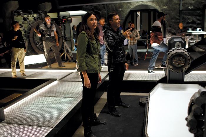 Photo of Joy with stunt coordinator Brian Machleit on the Westworld set.