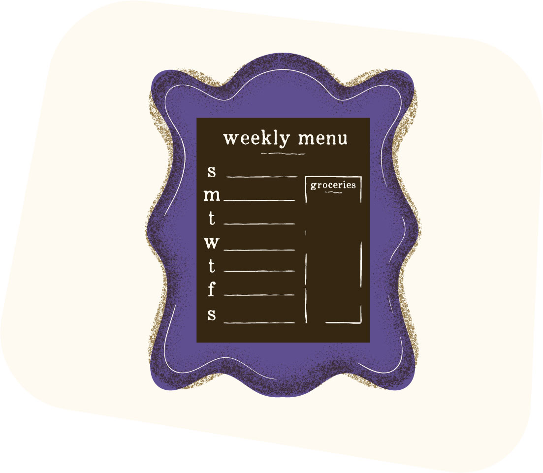 Illustration of weekly planner.