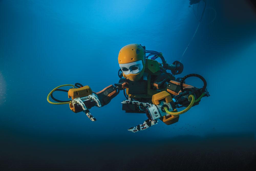 Photo of OceanOne underwater.