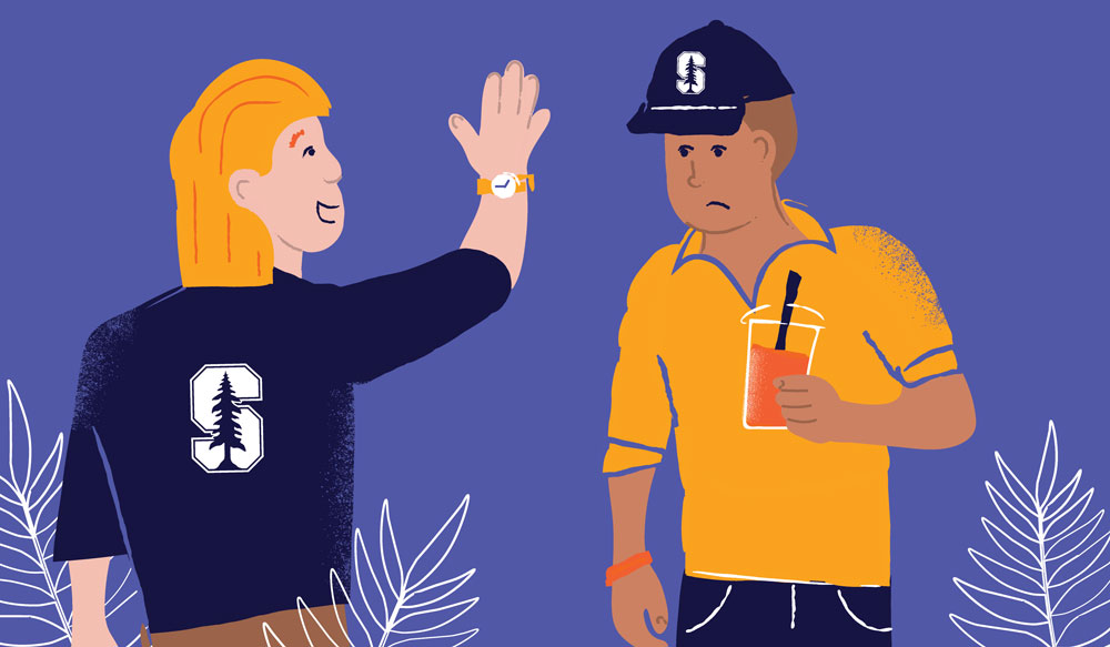 illustration of alum trying to high-five another alum