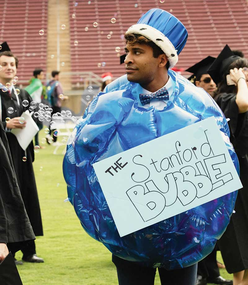 "Photo of graduate dressed as the ""Stanford Bubble"" for Wacky Walk."