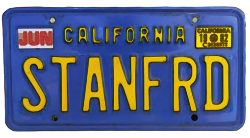 Silhouette of California license plate with the phrase STANFRD