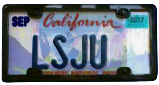 Silhouette of California license plate with the phrase LSJU