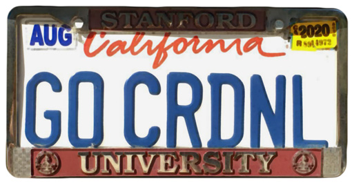 Silhouette of California license plate with the phrase GOCRDNL