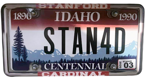 Silhouette of Idaho license plate with the phrase STAN4D