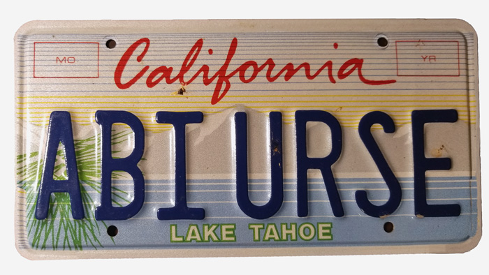 Silhouette of California license plate with the phrase ABIURSE