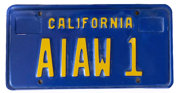 Silhouette of California license plate with the phrase AIAW 1