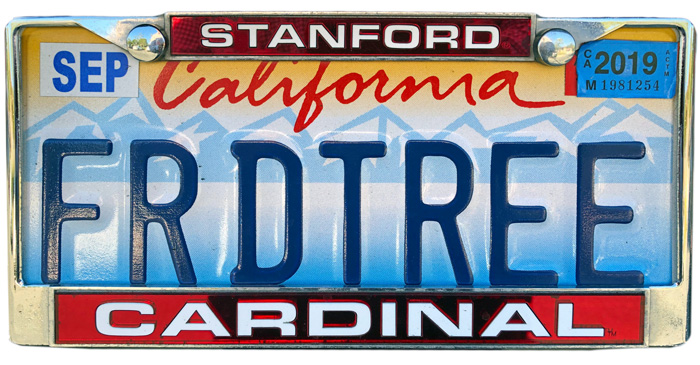 Silhouette of California license plate with the phrase FRDTREE