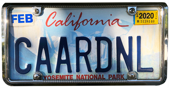 Silhouette of California license plate with the phrase CAARDNL