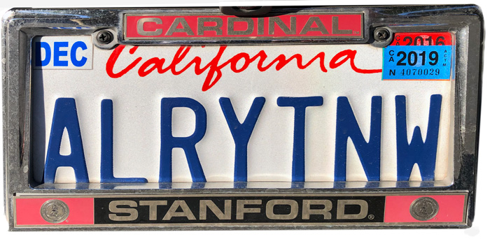 Silhouette of California license plate with the phrase ALRYTNW