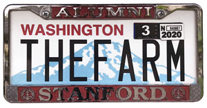 Silhouette of Washington license plate with the phrase THEFARM