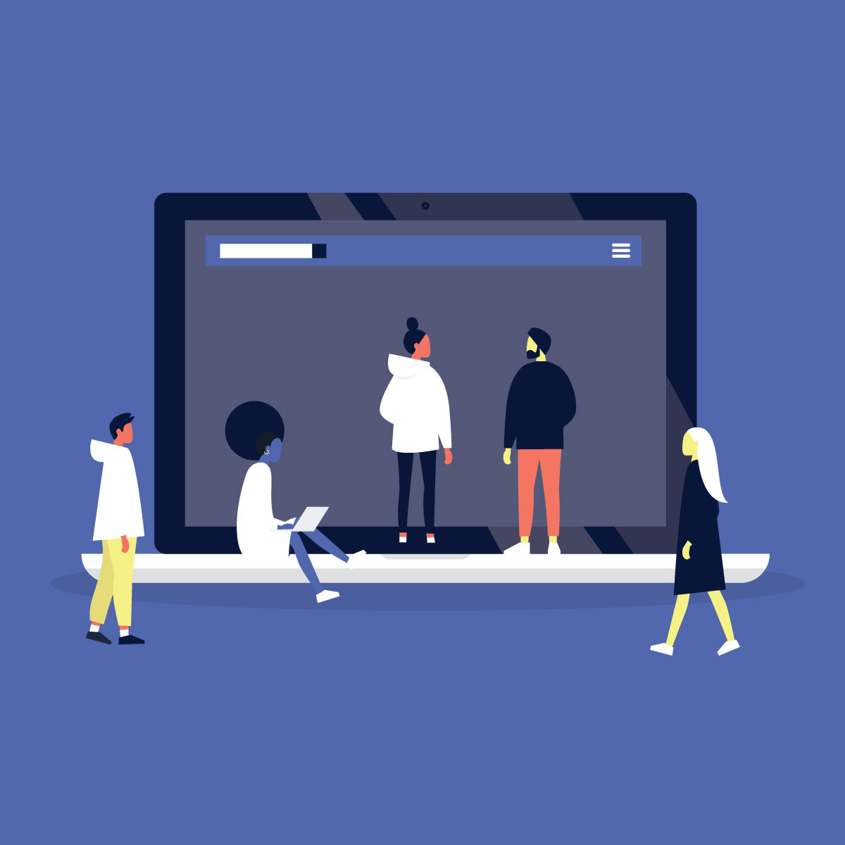 Illustration of several people mingling around giant laptop.