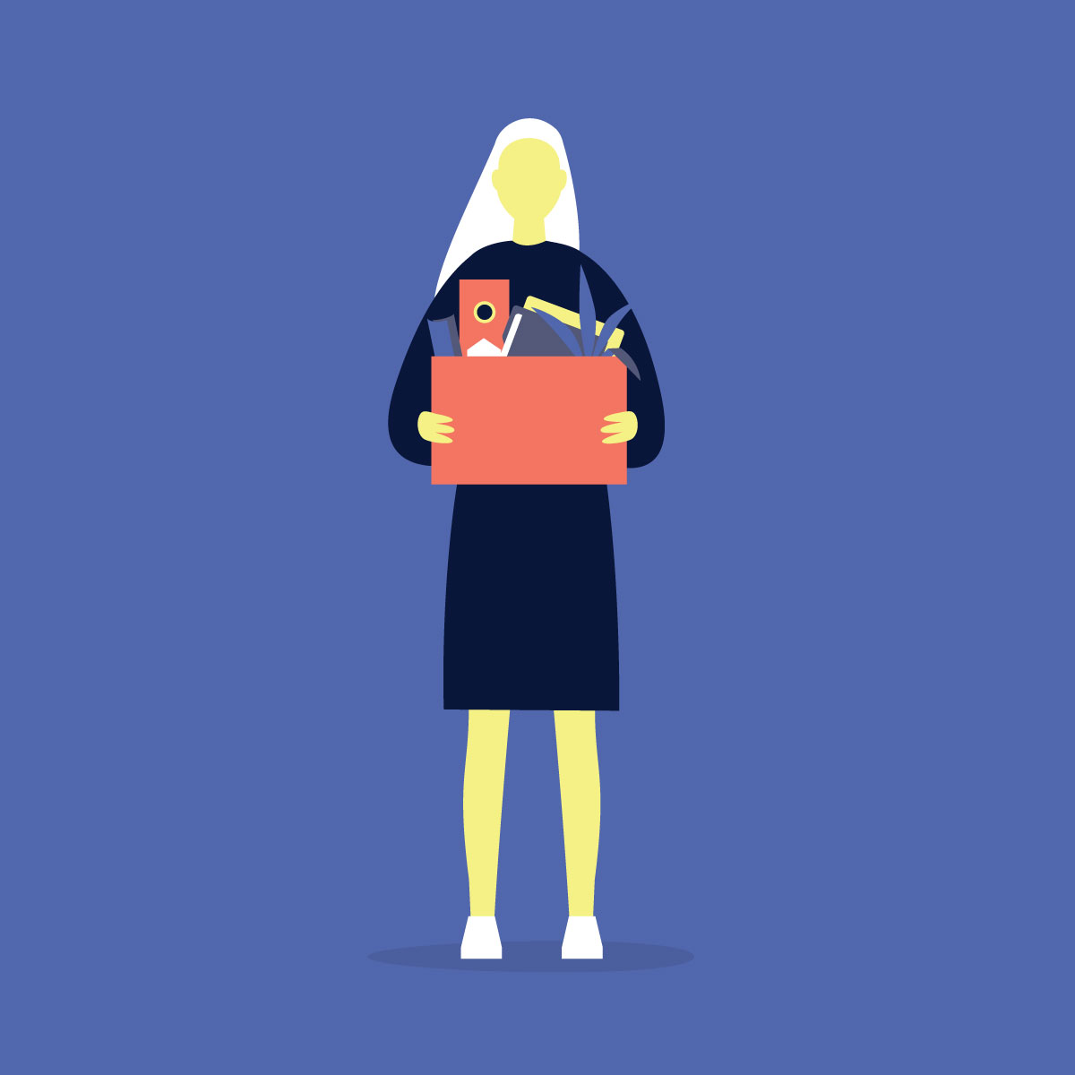 Illustration of woman carrying box of personal items.