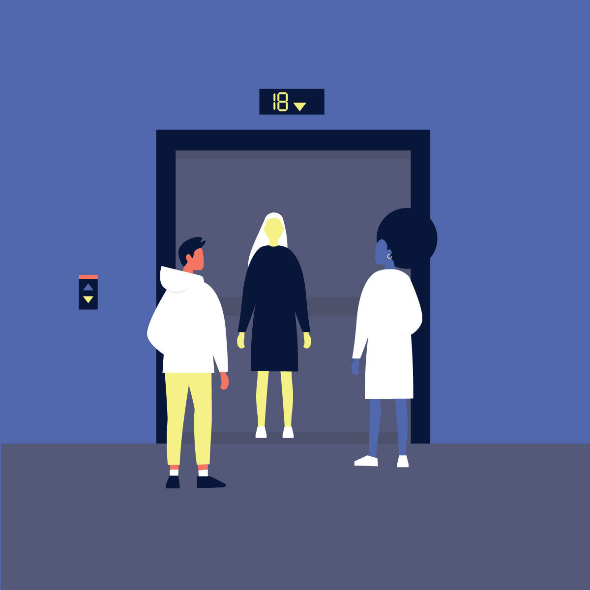 Illustration of people heading into an elevator.