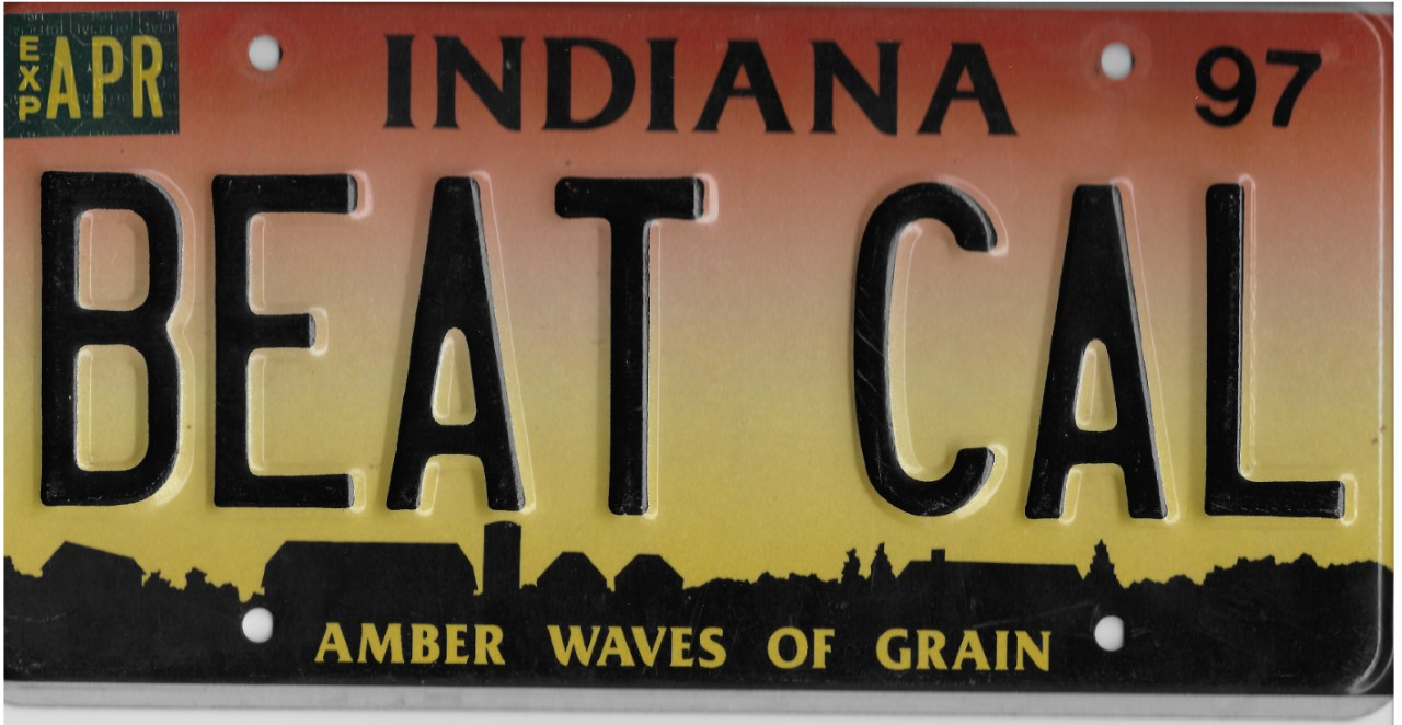 Silhouette of Indiana license plate with the phrase BEAT CAL
