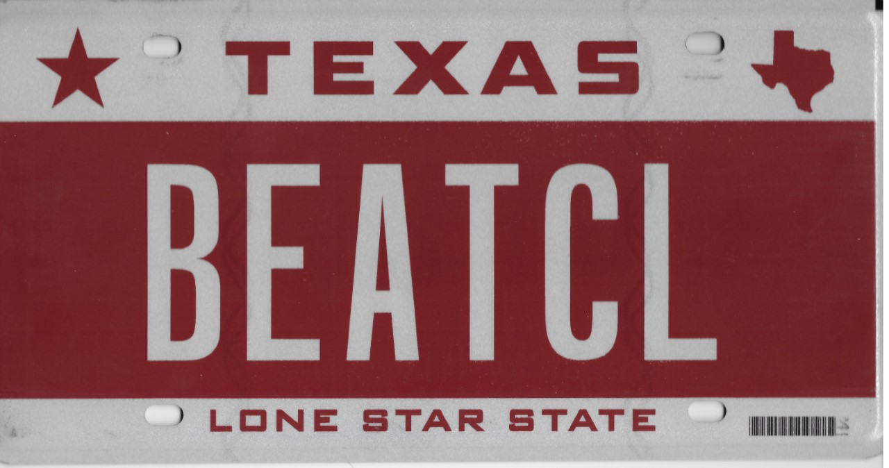 Silhouette of Texas license plate with the phrase BEATCL