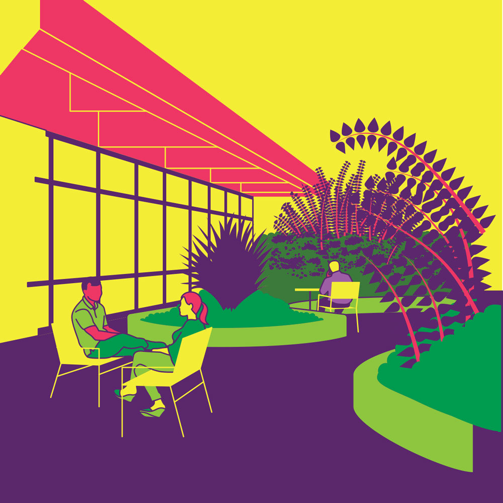 Illustration of a man and woman sitting on chairs in a garden