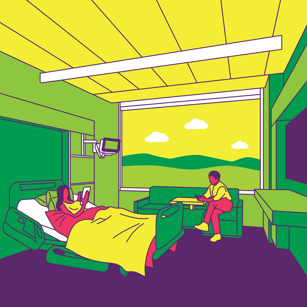 Illustration of man and woman ordering food from a hospital room.