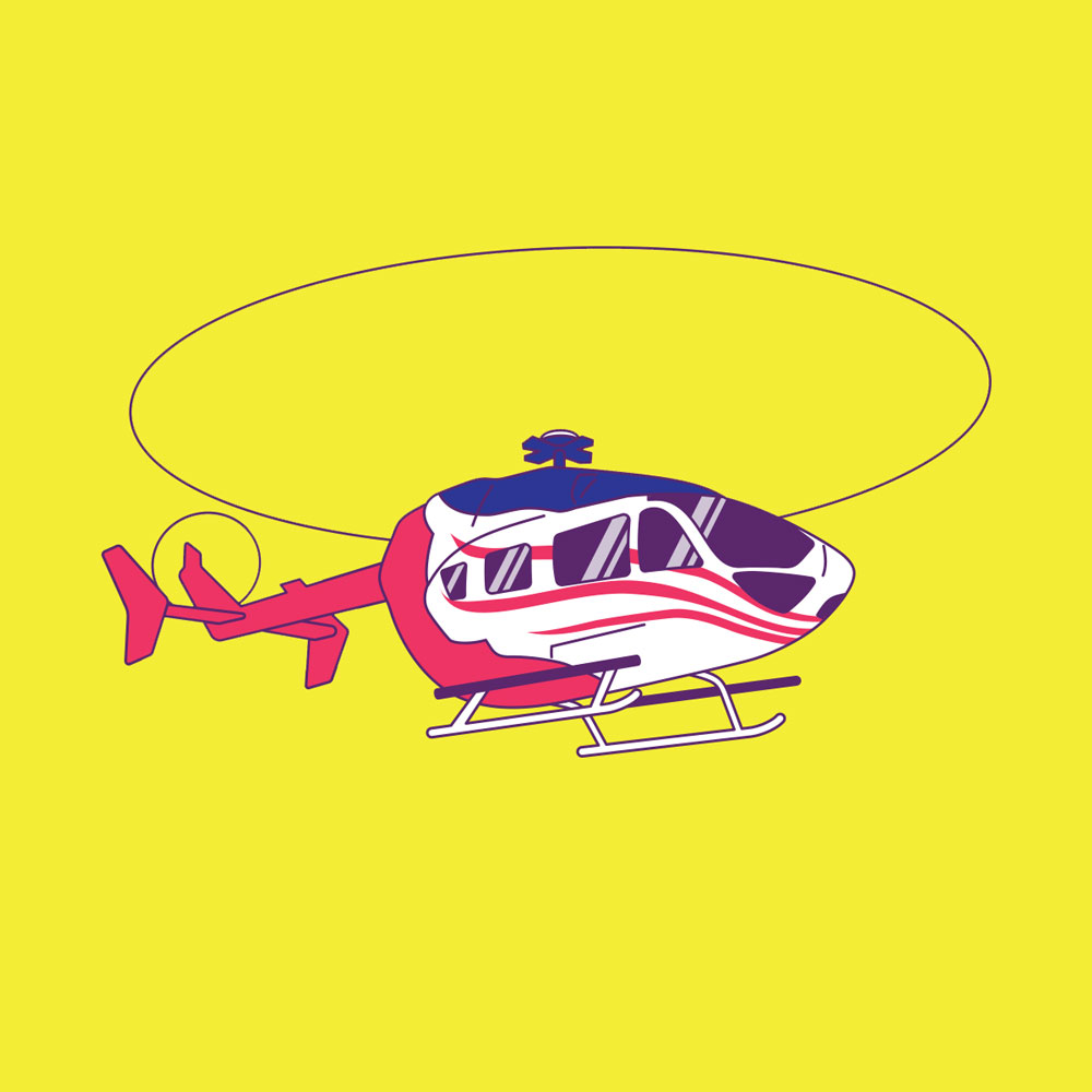 Illustration of helicopter silhouetted against plain background.