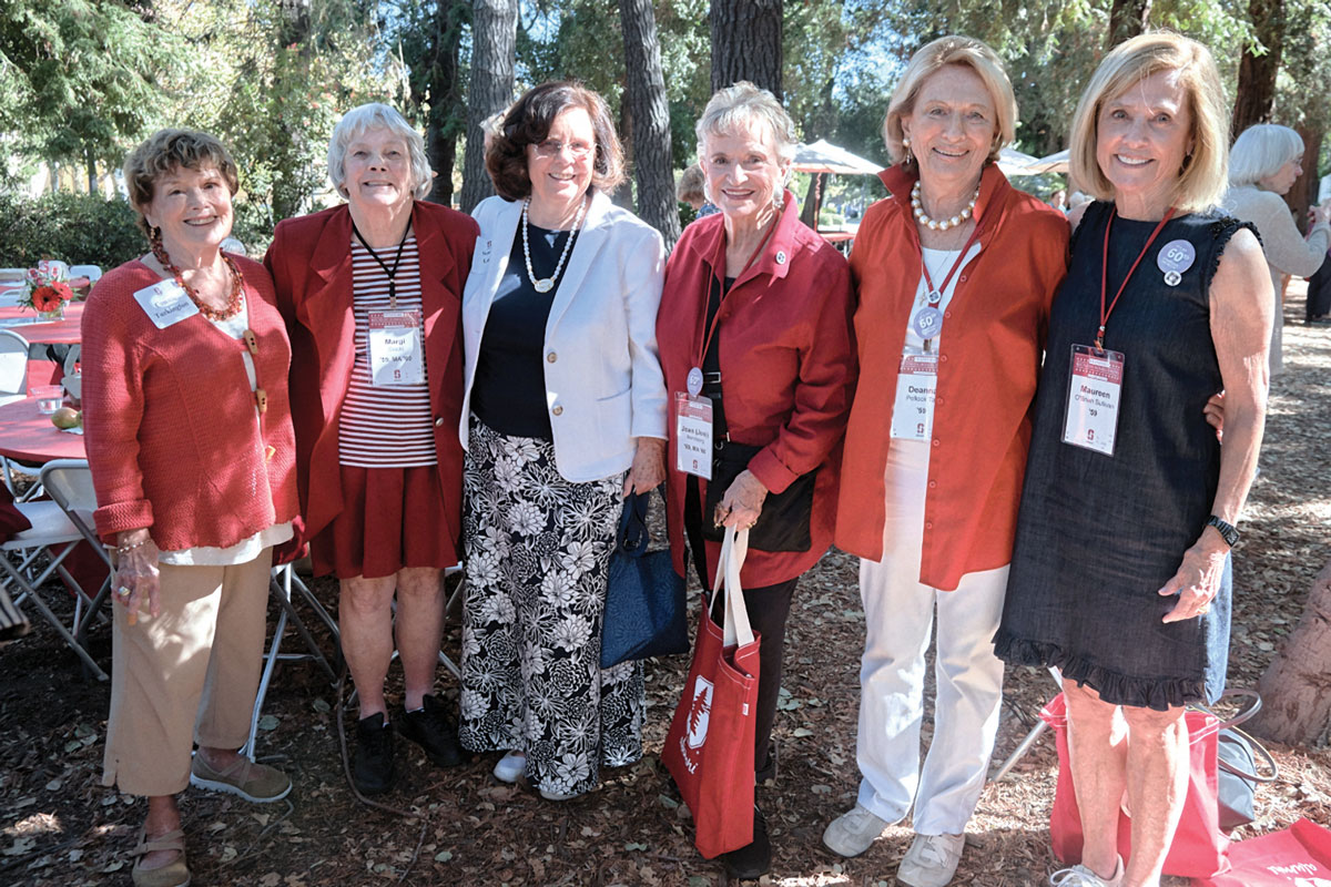 "Group photo ofConnie Turkington, '59, Margi Mix Gould, '59, MA '60, Lamb, Joan ""Joni"" Balling Rehnborg, '59, MA '60, Deanna Pollock Tarr, '59, Maureen O'Brien Sullivan, '59."