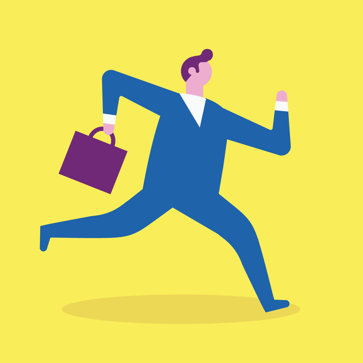 Illustration of businessman running with briefcase.